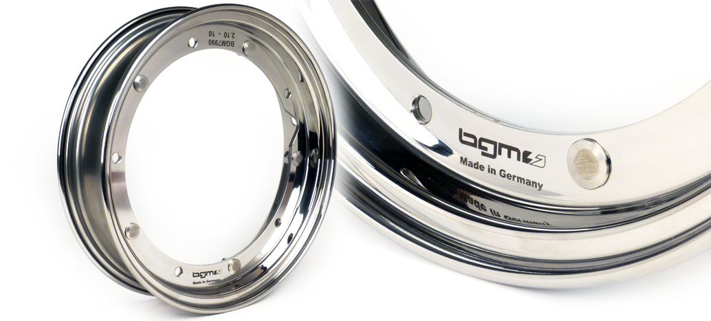 Wheel rim -BGM PRO 2.10-10- Vespa (type PX) – stainless steel polished