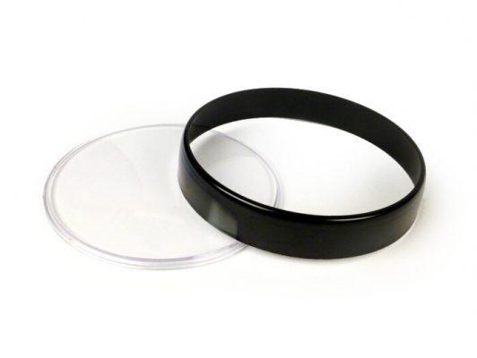 3331718 Tachoglas-Set -BGM ORIGINAL- Vespa Ø=105mm – Vespa PX Lusso (1984-), PK XL1, GT 250 i.e. 60 (ZAPM451), GTV 125 (ZAPM313), GTV 250 (ZAPM451), GTV 300 (ZAPM452) – schwarzer Ring – klares Glas