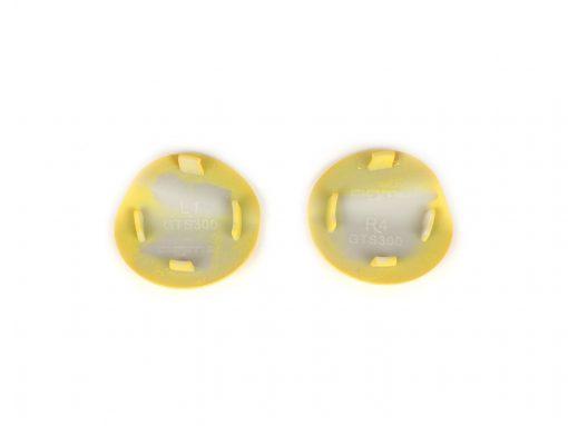 BGM4591KTYL Abdeckkappen-Set Spiegellöcher -BGM PRO- Vespa GTS 125-300 (ZAPMA3100, ZAPMA3200, ZAPMA3300) GTS HPE, Supertech (ZAPMA3600) – gelb matt (974/A)