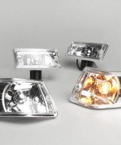 BGM5022LX Blinker -BGM ORIGINAL 4er Set- Vespa PX80, PX125, PX150, PX200, T5 125cc Chromgehäuse – Klarglas / Silberner Birne