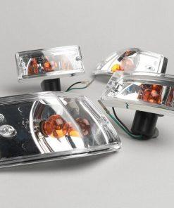 Indicateur BGM5022LZ -BGM ORIGINAL jeu de 4- Vespa PX80, PX125, PX150, PX200, T5 125cc boîtier chromé - verre clair / ampoules orange