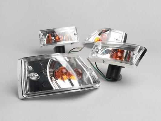 BGM5022LZ Blinker -BGM ORIGINAL 4er Set- Vespa PX80, PX125, PX150, PX200, T5 125cc Chromgehäuse – Klarglas / Orange Birnen
